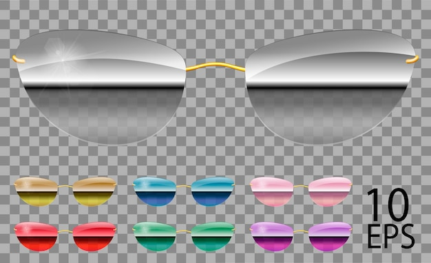 Définir des lunettes spéculaires. futuriste; étroit shape.transparent différent color.purple rouge bleu spéculaire rose miroir doré green.sunglasses.3d graphics.unisex femmes hommes.