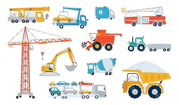 Définir la machine de construction de travail isolé sur fond blanc. icônes de voitures d'enfants pour la conception de chambres d'enfants.