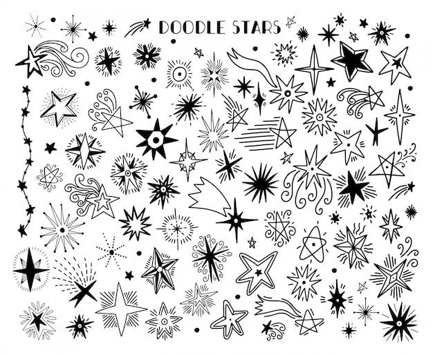 Définir la main de croquis dessiné avec étoile. style de doodle en blanc isolé.