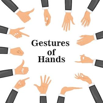 Définir les mains dans différents gestes isolés sur fond blanc.