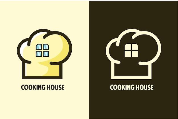 Définir la maison de cuisine et le magasin de logo ligne art