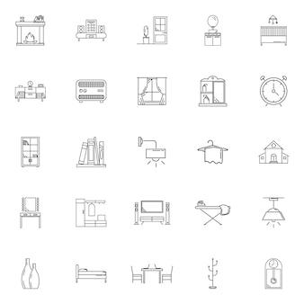 Définir la maison tenir l'icône de contour de vecteur