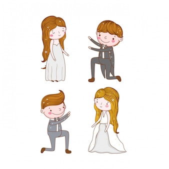 Définir un mariage homme et femme avec une robe et un costume