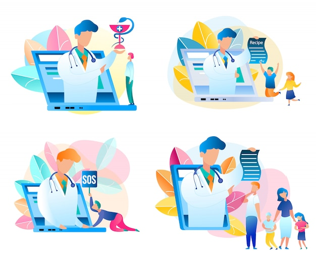 Définir le médecin de consultation médicale de vecteur plat en ligne. illustration de pédiatre masculin, placé sur écran pour ordinateur portable, tablette. traitement sur ordonnance de toute la famille. examen médical. guy demande l'aide d'un spécialiste