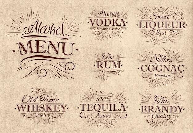 Définir le menu de l'alcool rétro