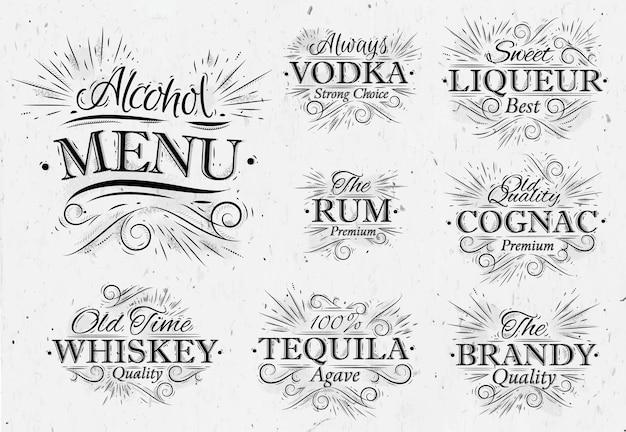 Définir le menu de l'alcool vintage