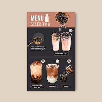 Définir le menu de thé de sucre brun bulle lait, contenu de l'annonce vintage, illustration aquarelle