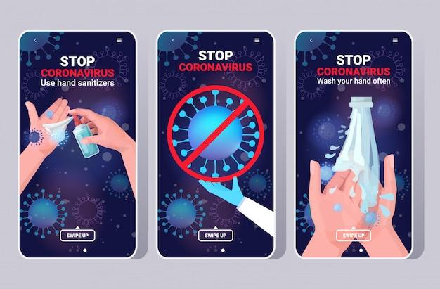 Définir des mesures de protection de base contre le coronavirus protégez-vous du concept de soins de santé 2019-ncov
