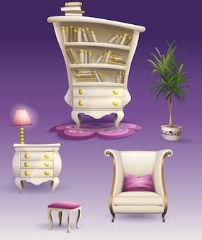 Définir des meubles de chambre à coucher blancs de dessin animé et une armoire