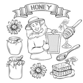 Définir le miel d'icône dessinés à la main.