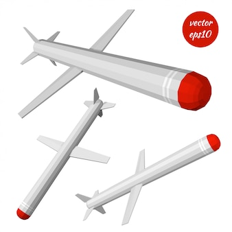 Définir le missile de croisière isolé sur blanc