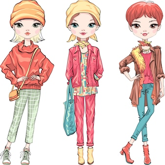 Définir la mode fille dans des vêtements d'automne