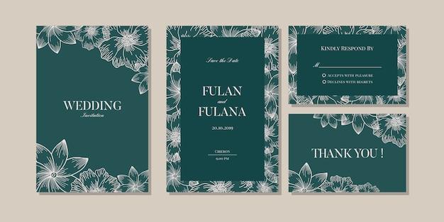 Définir le modèle d'amour romantique floral et fleur invitation de mariage vip