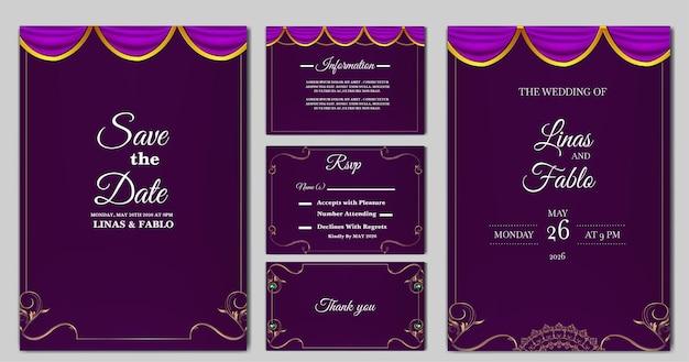 Définir le modèle de carte d'invitation de mariage de luxe collection