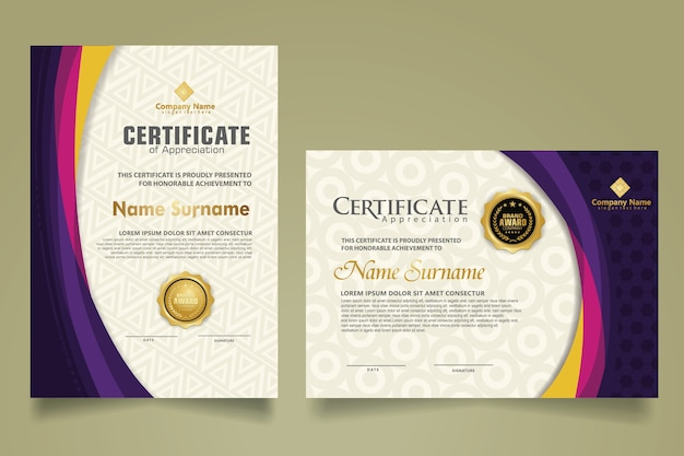 Définir le modèle de certificat moderne avec une forme d'onde de couleur futuriste et élégante sur l'ornement et le fond moderne. format a4.