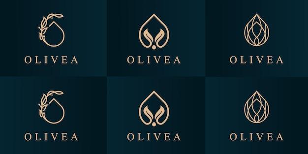 Définir le modèle de conception de logo d'huile d'olive.