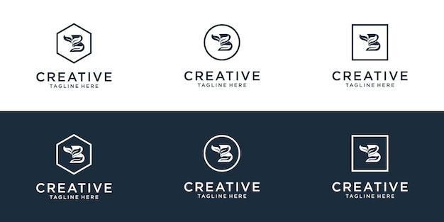 Définir le modèle de conception de logo d'icône monogramme b initial