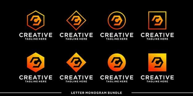 Définir le modèle de conception de logo c initial icône monogramme