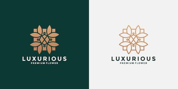 Définir le modèle de conception de logo lotus ornement avec dégradé de couleur