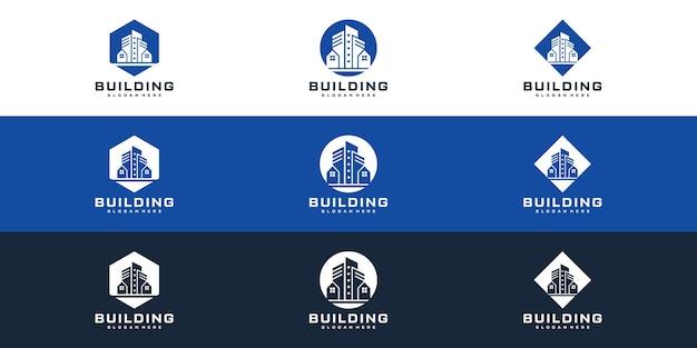 Définir le modèle de conception de logo de paquet de construction premium