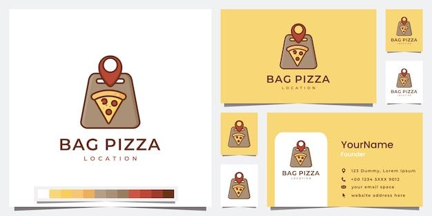 Définir le modèle d'emplacement de pizza logo sac