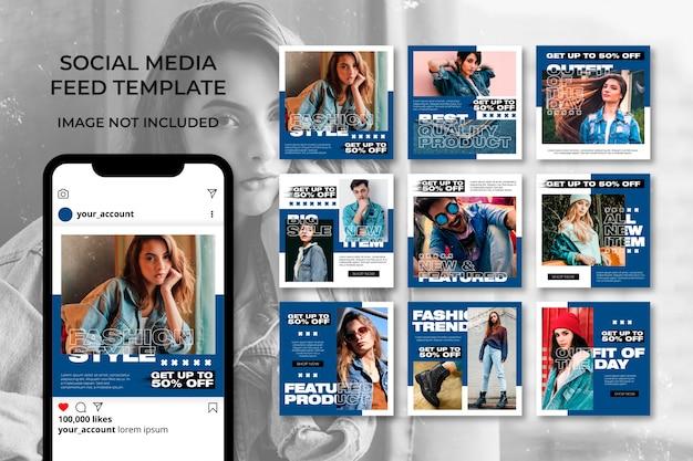 Définir le modèle d'histoires de bannières de médias sociaux de mode