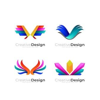 Définir le modèle de logo d'aile abstraite, 3d coloré