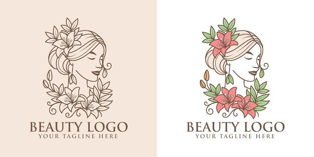 Définir le modèle de logo de beauté femme