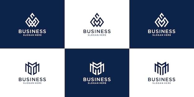 Définir un modèle de logo de collection de lettre m minimaliste créatif