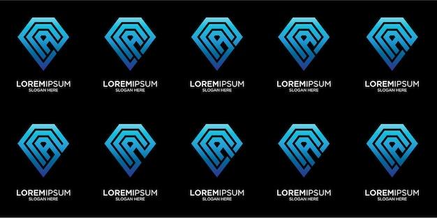 Définir le modèle de logo de diamant abstrait créatif