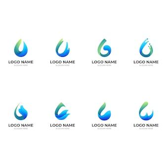 Définir le modèle de logo de goutte d'eau avec un style de couleur bleu 3d