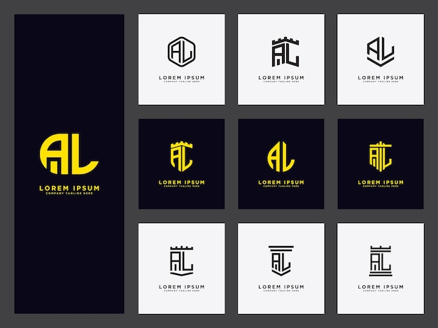 Définir le modèle de logo avec les lettres al initiales