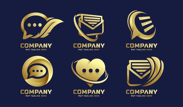 Définir le modèle de logo de message de chat premium pour l'entreprise vecteur premium