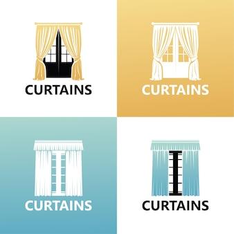 Définir le modèle de logo de rideau vecteur premium