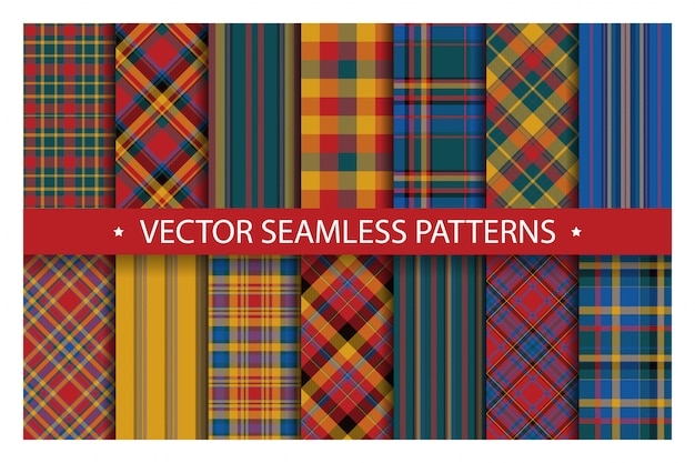 Définir le modèle de plaid sans soudure. texture de tissu motifs tartan. fond géométrique à carreaux. toile de fond de couverture à rayures écossaises