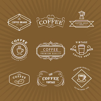 Définir le modèle rétro de tableau noir étiquette vintage logo café