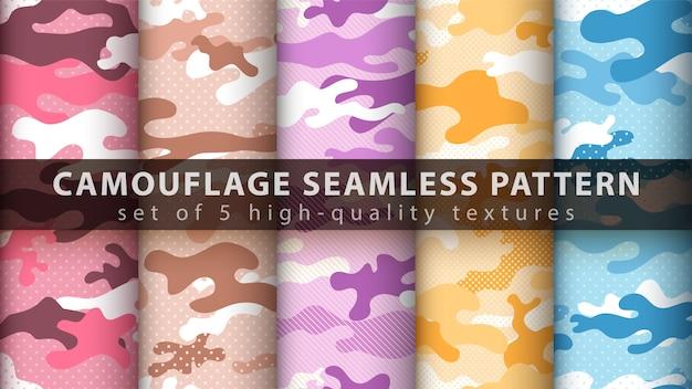 Définir le modèle sans couture militaire camouflage pixel