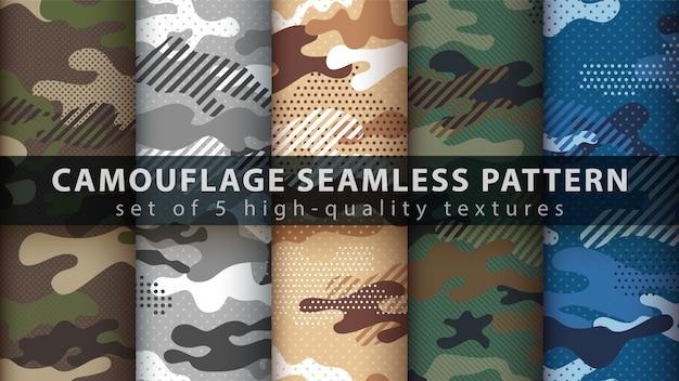 Définir Le Modèle Sans Couture Militaire De Camouflage Vecteur Premium