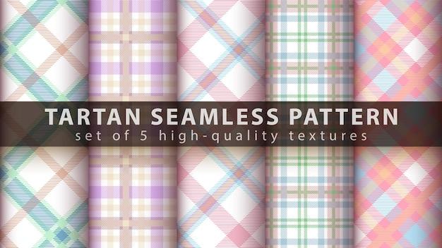 Définir Le Modèle Sans Couture Textile Tartan. Dessiner à La Main Vecteur Premium