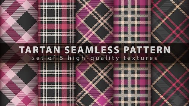 Définir le modèle sans couture textile tartan. dessiner à la main