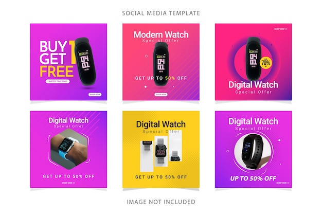 Définir le modèle de vente de bannière de montre.