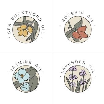 Définir des modèles de conception et des emblèmes - huiles saines et cosmétiques. différentes huiles naturelles et biologiques. logos dans un style linéaire branché.