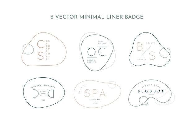 Définir des modèles de conception de logos de ligne minimale dans un style simple - badges abstraits vectoriels dans des couleurs pastel pour studio créatif, salon de beauté, spa, cosmétiques biologiques