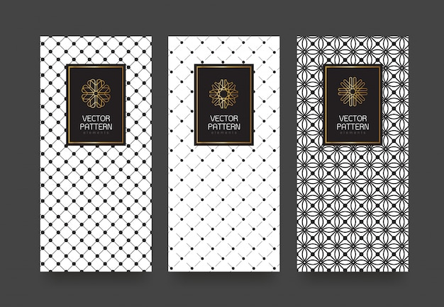 Définir des modèles d'étiquettes motif géométrique noir et blanc pour les produits de luxe.