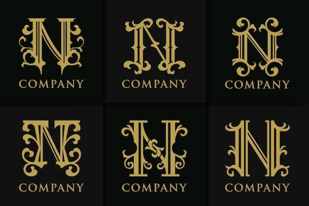 Définir monogramme lettre n collection vintage