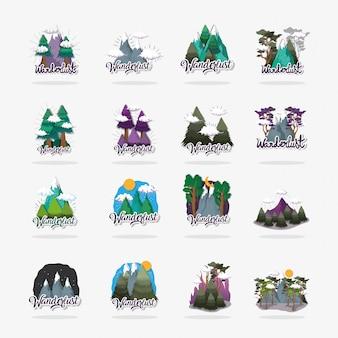 Définir des montagnes de glace avec des nuages et des pins