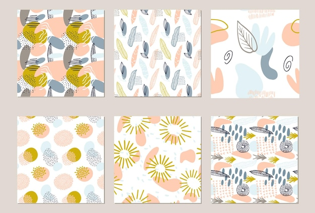 Définir un motif abstrait avec des formes organiques dans des couleurs pastel. fond organique avec des taches. modèle sans couture de collage avec la texture de la nature. textile moderne, papier d'emballage, design d'art mural