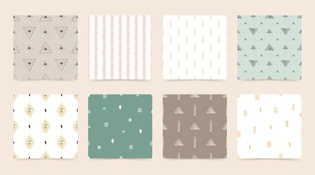Définir un motif géométrique sans couture avec ligne, triangle, carré, losange