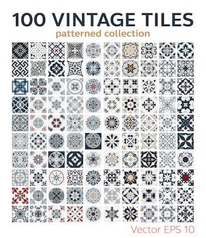 Définir des motifs de carreaux vintage design sans couture antique