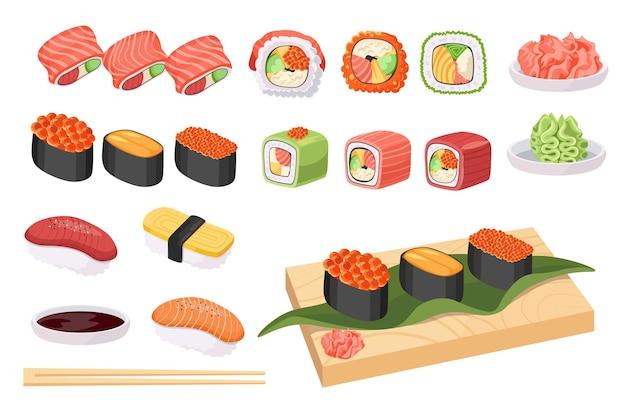 Définir la nourriture japonaise, la cuisine japonaise, les sushis et les petits pains avec du poisson et des algues. fruits de mer gunkanmaki ikura, tobiko et uni, uramaki philadelphia, nigiri avec poisson et riz tamago, maguro, sake. vecteur de dessin animé